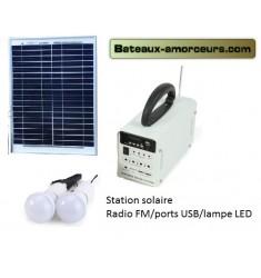 Station solaire autonome avec USB radio FM et lampes LED