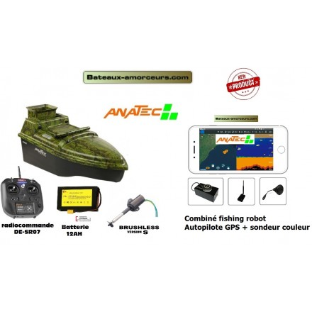 Anatec mono brushless S + combi fishing robot autopilote + sondeur couleur