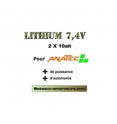 X 2 lipo 10 ah pour bateaux anatec et bateaux amorceurs en 6V